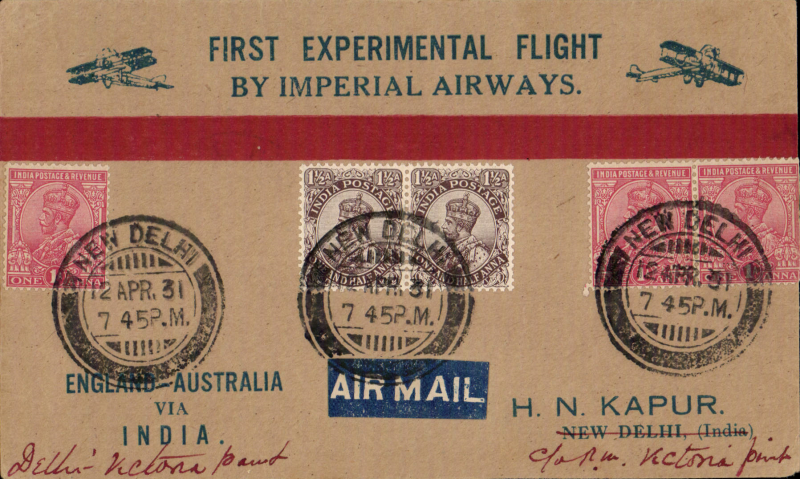 (India) First experimental flight Delhi to Victoria Point, Burma, bs 22/4, red/buff printed 'England-Australia via India' souvenir cover franked 6 annas canc fine strikes New Delhi cds, only 30 covers carried on tis stage.