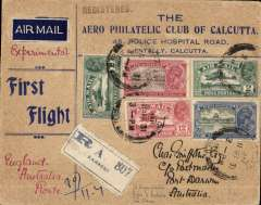 (India) Karachi to Darwin, bs 25/4, first experimental flight England-Australia, India-Australia leg, attractive 'Aero Philatelic Club of Calcutta' registered (label) souvenir cover  franked 21 annas, dark blue/white etiquette. Plane crashed at Kupang: mail picked up by Kingsford Smith and carried to Darwin in the Southern Cross. Nice item.