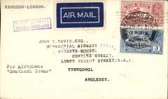 "(Burma) Return First Experimental England-Australia flight, Rangoon to London, bs 14/5, plain cover,  franked 15a, violet boxed ""First Airmail/Burma-England"" cachet, ms ""Per Airoplane/Southern Cross"", A scarce item, according to Stephen Smith only 38 covers carried to countries beyond Karachi, ref article detailing dispatches from India on the 1st and 2nd England-Australia flights and published in the Monthly Bulletin of the Indian Airmail Society."