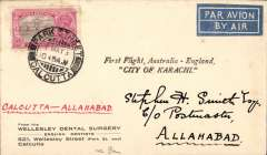 """(India) Return First Experimental England-Australia flight, Calcutta to Allahabad, bs 4/5, franked 3annas, fine strike violet two line """"First Flight, Australia-England/City of Karachi"""", printed Wellesley Dental Surgery corner cover addressed in hand of Stephen Smith. 142 items were collected from Calcutta for Allahabad."""