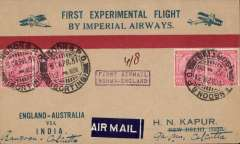 "(Burma) Return First Experimental England-Australia flight, Rangoon to Calcutta, bs 4/5, attractive souvenir cover franked 4a, fine strike violet boxed ""First Airmail/Burma-England"" cachet. ""Exceedingly scarce"", ref Calcutta Philatelist, Dec 1933, p255."