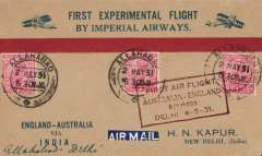 """(India) Return First Experimental England-Australia flight, Allahabad to Delhi, red/blue/buff Kapur souvenir cover, franked 3 annas, red boxed """"First Air Flight/ Australia-England/Delivery/Delhi 4-5-31"""" arrival ds on front.. 50 flown."""