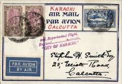 """(India) 2nd Experimental England-Australia flight, Karachi to Calcutta, bs 6/5, striking and uncommon cover franked 5 annas, fine strike magenta """"2nd Experimental Flight/England.......Australia/City of Karachi"""",  addressed and signed by Stephen Smith,"""