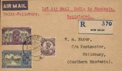 (India) Delhi Flying Club/Imperial Airways, first direct airmail from Delhi to Southern Rhodesia, Delhi to Salisbury, bs 31/1, registered (label) cover franked 1R 3 1/2a, canc New Delhi cds, typed 'Delhi-Salisbury'. First acceptance of mail for Southern Rhodesia on the Delhi-Karachi service, then carried from Cairo on the F/F Imperial Airways Regular Service from London to Cape Town. Only 29 acceptances from India for Salisbury. Of these 19 were from Delhi, see Airmails of British Africa, p50. Superb double first flight item.