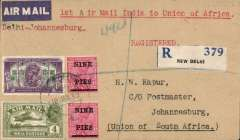 (India) Delhi Flying Club/Imperial Airways, first direct airmail from Delhi to Johannesburg, bs 1/2 registered (label) cover franked 1R, 4 annas, 18p, canc New Delhi cds, typed 'Delhi-Johannesburg'. First acceptance of mail for South Africa on the Delhi-Karachi service, then carried from Cairo the F/F Imperial Airways Regular Service from London to Cape Town. Only 14 carried. Superb double first flight item.