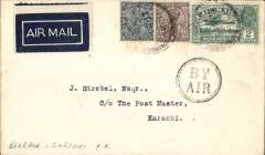 (Bahrain) First flight Imperial Airways alternative route through Trucial States, Bahrain to Karachi, bs 8/10, cover with 'Eastern Bank/Bahrein/Ltd' embossed on the flap, franked 3 annas 3p Indian stamps, weak strike Bahrain cds, black double ring 'By Air' hs, dark blue/white airmail etiquette. Although 'Bahrein' on the postmark is illegible, the date '5 OCT 32' is clear, as is the '8 OCT 32' Karachi arrival cds. Also the cover is franked correctly with Indian stamps and was sent from the Eastern Bank, Bahrain. A scarce item in good condition.