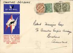 (India) Cawnpore to Brisbane, bs 21/12, red/white/blue 'Kangaroo' souvenir cover, franked 11a, canc Cawnpore cds. Imperial Airways and Qantas Empire Airways combined to operate the first regular through service from England to Australia, the first flight left London on 8 December and, travelling via India, Singapore, the Dutch East Indies and Darwin, and reached Brisbane on 21 December, (ref Brown J, Indian Air Mails, 1995).