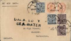 "(Recovered Interrupted Mail) Scipio crash at Mirabella Bay, plain cover, en route from India to London, franked 13 annas, canc uncommon Indian Travelling Post Office standard double ring TPO mark 'M (Madras) 25 SET No.1/ 13 AUG 36', violet type g ""Damaged by Sea /Water"" cachet. One of the few recovered items with stamps intact. Carried on flight IW469 which left Brisbane on Aug 8th, Ni 360822gg. Nice item."