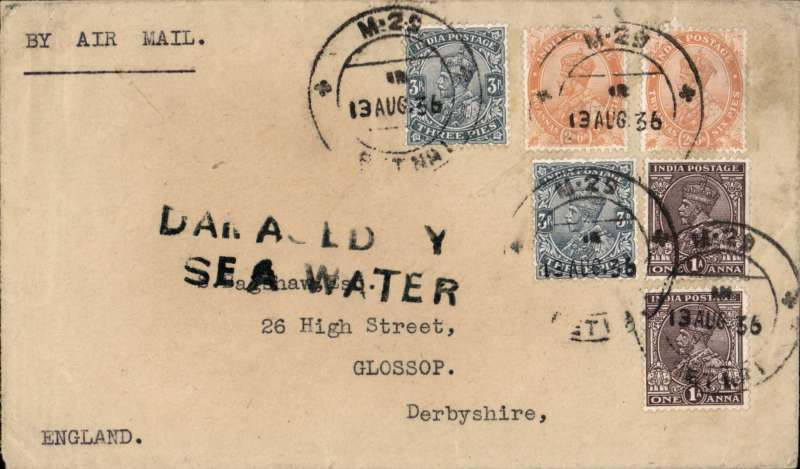 """(Recovered Interrupted Mail) Scipio crash at Mirabella Bay, plain cover, en route from India to London, franked 13 annas, canc uncommon Indian Travelling Post Office standard double ring TPO mark 'M (Madras) 25 SET No.1/ 13 AUG 36', violet type g """"Damaged by Sea /Water"""" cachet. One of the few recovered items with stamps intact. Carried on flight IW469 which left Brisbane on Aug 8th, Ni 360822gg. Nice item."""