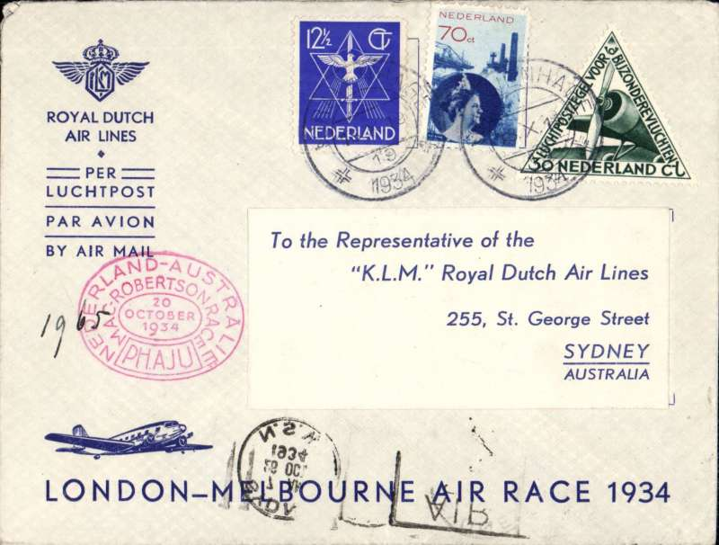 (Netherlands ) MacRobertson Air Race, Holland to Sydney, bs 26/10, special stamp, oval red race cachet, large violet oval DR KLM cachet verso, souvenir company cover, flown by Parmentier and Moll. KLM entry.