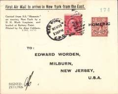 """(Ship to Shore) Sir Alan Cobham demonstration flight from SS Homeric at sea to Battery Point, New York City, flown and initialled by Sir Allan Cobham, printed souvenir cover bears cachet """"First Air Mail to arrive in New York from the East"""". Illustrated p 1545 AAMC. Scarce item in fine condition."""
