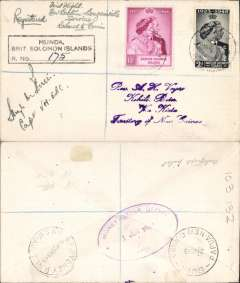(Scarce and Unusual Routings) MUNDA TO KIHILI, First flight New Britain Catalina Bouganville Catalina flying boat service, Raboul to Buin, bs 21/6, via Sydney 25/5, Raboul Money Order Office 1/6 (large oval dated handstamp), registered cover with boxed Munda/Brit Solomon Island' reg h/s, franked Silver Wedding 10/- and 2d BSI stamps. The   Mundo PO.  was closed at this time and the handstamp  used at Gizo  (as a relief) was been applied. Signed by the pilot Qantas VH-EBC Boeing PB2B-2 Catalina. Scarce route well illustrated by transit handstamps