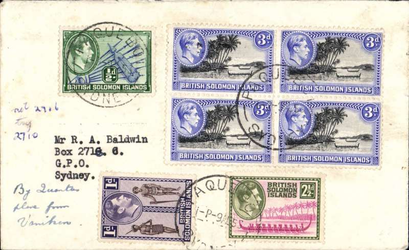 (Scarce and Unusual Routing) Solomon Islands; VANIKORO (SANTA CRUZ) TO SYDNEY (1825 miles), from (ms) 'FL Jones /Vanikoro/BSIP' on flap, plain cover ms on front in same hand 'By Qantas plane from Vanikoro', franked 1/4 1/2d, canc on arrival Paquebot/Sydney/9 Aug, bs Sydney 10 Aug. Correctly rated for reg airmail so likely picked up by seaplane at  Vanikoro en route to Sydney, dropped of at sea to Sydney Paquebot 9/8, arriving Sydney PO 10/8. Interesting item.