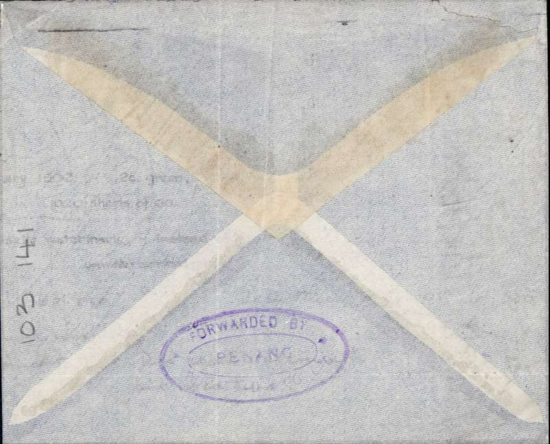 (Malaya) First acceptance at the 25c inclusive rate, Penang to London,  pale grey imprint etiquette air cover, franked 25c B8&Co perfin, carried on IAW regular service, typed 'Per Imperial Airways.'