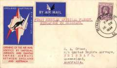 (Singapore) Imperial Airways/Qantas, F/F Singapore to Brisbane, bs 21/12, carried on first regular weekly service UK-Australia, correctly franked Straits Settlements 25c, red/white/blue kangaroo souvenir vignette and imperforate airmail etiquette, flown Athena to Darwin and Hippomenes to Brisbane.