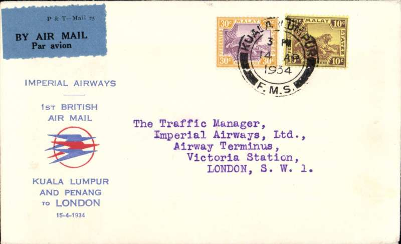 (Malaya) Imperial Airways, Kuala Lumpur to London via Penang, F/F new accelerated timetable, flight IW 263, scarce 'Speedbird' souvenir cover printed 'Kula Lumpur /and Penang /to London', franked Malay 40c - the first inclusive air mail rate in lieu of air fee and surface rate. Flight interrupted at Kuala Lumpur, see Wingent, p116.