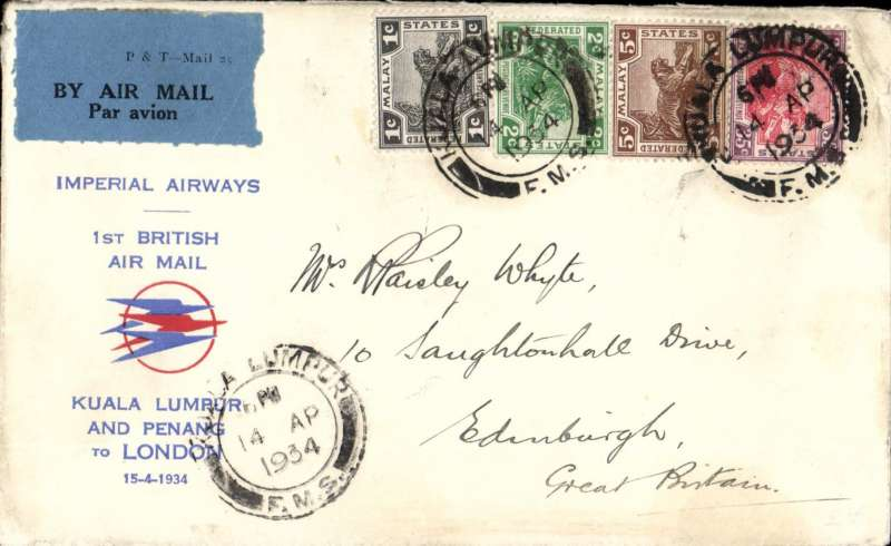 (Malaya) Imperial Airways, Kuala Lumpur to London via Penang, F/F new accelerated timetable, flight IW 263, scarce 'Speedbird' souvenir cover printed 'Kuala Lumpur /and Penang /to London', franked Malay 40c - the first inclusive air mail rate in lieu of air fee and surface rate. See Wingent, p116.