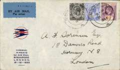 "(Singapore) Imperial Airways/ITCA , F/F Singapore to London, red/blue/pale grey souvenir cover with small circular red/blue speedbird logo and printed ""Imperial Airways/1st Air Mail/Singapore/London/31-12-1933"" cachet, correctly franked 8c postage and 35c air fee, canc Singapore 31 De 1933."