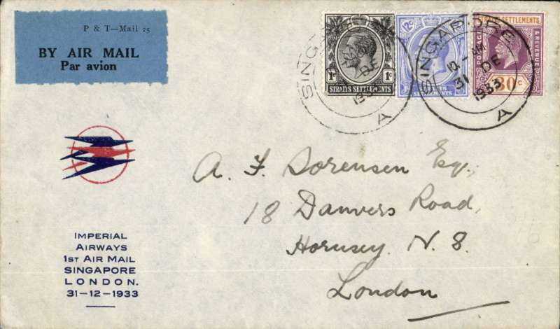 """(Singapore) Imperial Airways/ITCA , F/F Singapore to London, red/blue/pale grey souvenir cover with small circular red/blue speedbird logo and printed """"Imperial Airways/1st Air Mail/Singapore/London/31-12-1933"""" cachet, correctly franked 8c postage and 35c air fee, canc Singapore 31 De 1933."""