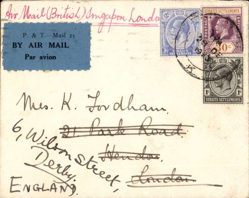 (Singapore) Imperial Airways/ITCA, F/F Singapore to London, bs 11/1/34, plain cover, franked 43c Straits Settlement stamps canc Singapore cds, correctly rated 8c postage and 35c air fee, canc Singapore 31 De 1933. IW 248, see Wingent  p112.