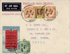 (Singapore) Scarce F/F Singapore to India, bs Calcutta 2/1/34 and Bombay 4/1,, airmail etiquette cover correctly franked 8c postage and 12c ar fee, very attractive red/black/red 'winged' IAW logo vignette, 15c Straits stamps tied Singapore machine cancel, typed 'Special Flight/to Rangoon', first westbound service from Australia after extension from Singapore, IAW 248, see Wingent p113. Nice item.