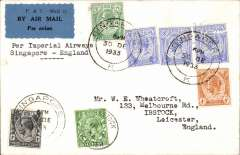 (Singapore) F/F Singapore to England, 11/1/34 arrival cds on front, airmail etiquette cover correctly franked 8c postage and 35c Straits stamps (TC&S perfins) air fee, first westbound service from Australia after extension from Singapore, IAW 248, see Wingent p112.