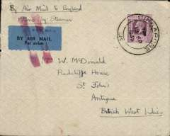"(Straits Settlements) Singapore to Antigua, British West Indes, airmail etiquette cover franked Straits 25c, canc Singapore cds, etiquette cancelled by red two bar Jusqu'a applied in London, ms "" By air to England/thence by Steamer""."