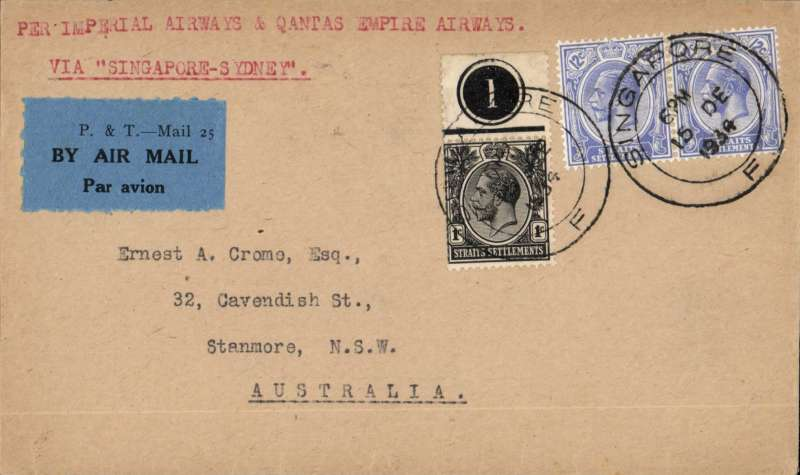 (Singapore) Singapore to Sydney, bs 21/12, carried on first regular weekly service UK-Australia, correctly franked Straits Settlements 25c, airmail etiquette cover, Imperial AW/Qantas.