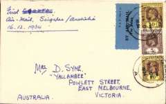 (Singapore) Imperial Airways/Qantas, F/F Singapore to Melbourne, bs 22/12, carried on first regular weekly service UK-Australia, plain cover corectly franked Straits Settlements 25c canc Singapore cds tying blue/black 'P&T Mail 25', airmail etiquette.