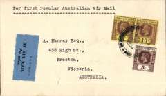 (Malaya) Imperial Airways/Qantas, F/F Penang to Melbourne, bs 22/12, carried on first regular weekly service UK-Australia, plain cover correctly franked Straits Settlements 25c canc Singapore cds, blue/black 'P&T Mail 25', airmail etiquette.