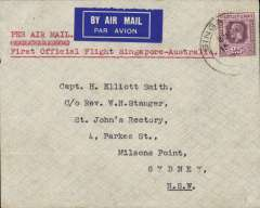 "(Singapore) Imperial Airways/Qantas, F/F Singapore to Sydney, bs 21/12, a fine and cover carried on first regular weekly service UK-Australia, correctly franked Straits Settlements 25c, etiquette cover with superb blue ""rising sun and anchor /Quis Separabit"" logo on flap. A real challenge."