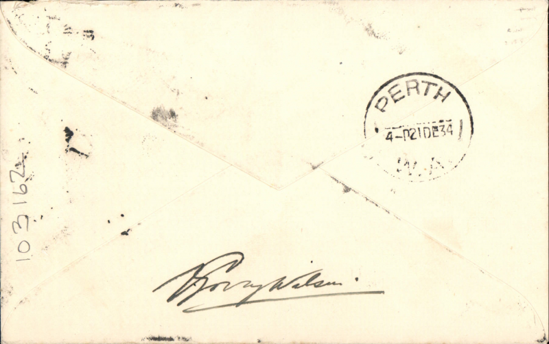 (Singapore) Imperial Airways/Qantas, signed F/F Singapore to Perth, bs 21/12, a fine and cover carried on first regular weekly service UK-Australia, correctly franked Straits Settlements 25c, etiquette cover, ms 'leaving RAF aerodrome, Seletav, Singapore on Sunday 16,12,34',  signed by V. Gory Wilson, Imperial Airways chief pilot based at Singapore.