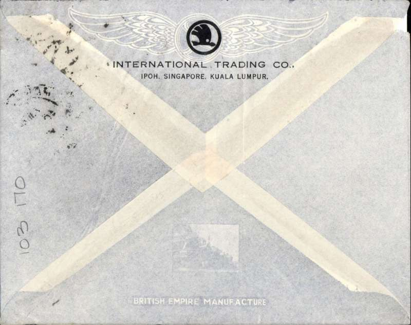 (Singapore) Singapore to Kothen, Germany, airmail etiquette commercial cover correctly franked 65c (1/2oz), canc uncommon 'Paquebot Singapore cds, typed 'By K.L.M.'. Paquebot Singapore from Selangor, rail to Penang, air via KLM Alor tar to Amsterdam & rail to Germany. Small top lh corner defect, see scan.