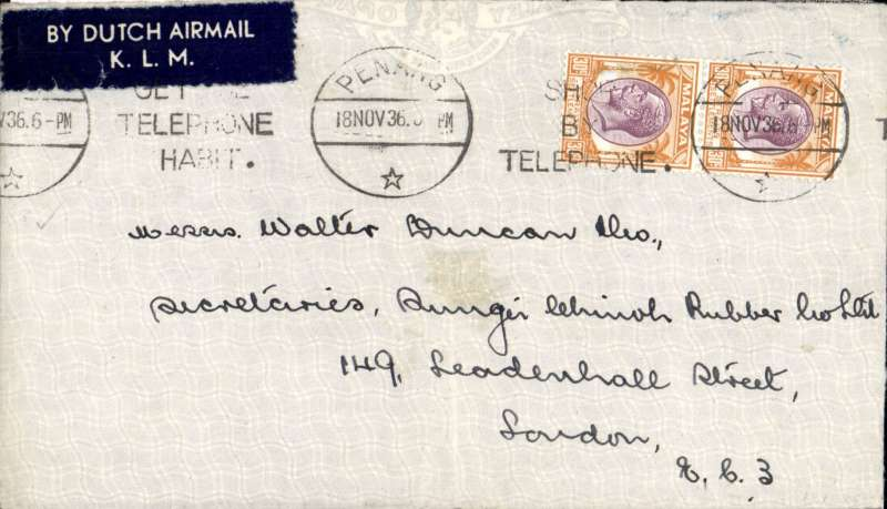 (Malaya ) Penang to London correctly rated 60c for KLM 1/2oz rate, franked 60c, canc Penang cds, uncommon and attractive dark blue/white 'By Dutch Airmail/K.L.M.' etiquette.