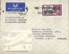 (Singapore) Scarce 1st  twice weekly Singapore-Calcutta-Croydon service, Singapore to UK,  bs Preston 12/10, souvenir test cover with image of 'Heracles' in lower lh corner addressed to Imperial Airways Ltd, Victoria Station, London, franked 25c Silver Jubilee. IAW Aurora to Calcutta, Helena to Alexandria, Satyrus to Brindisi and Heracles to Croydon.