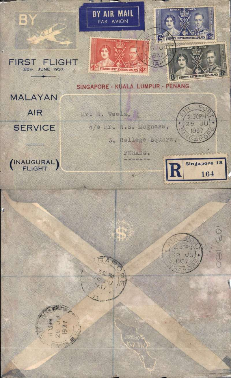 (Singapore) First internal airmail, Singapore to Penang, bs 28/7, uncomon printed blue/grey reg (label) souvenir cover with image of DH bi-plane in top lh corner, franked 1937 Coronation set of three and 'Singapore-Kuala Lumpur-Penang' printed in red.