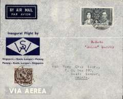 (Malaya) First internal airmail, Penang to Kuala Lumpur, official grey/blue company cover franked 8c, ms 'R.M.A./Delia G-ACWD', Wearne's Air Services.