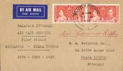 (Singapore) First Malayan internal air service, Singapore to Kuala Lumpur, plain cover, franked 8c, Wearne's Air Services, ms 'Per Governor Raffles'..