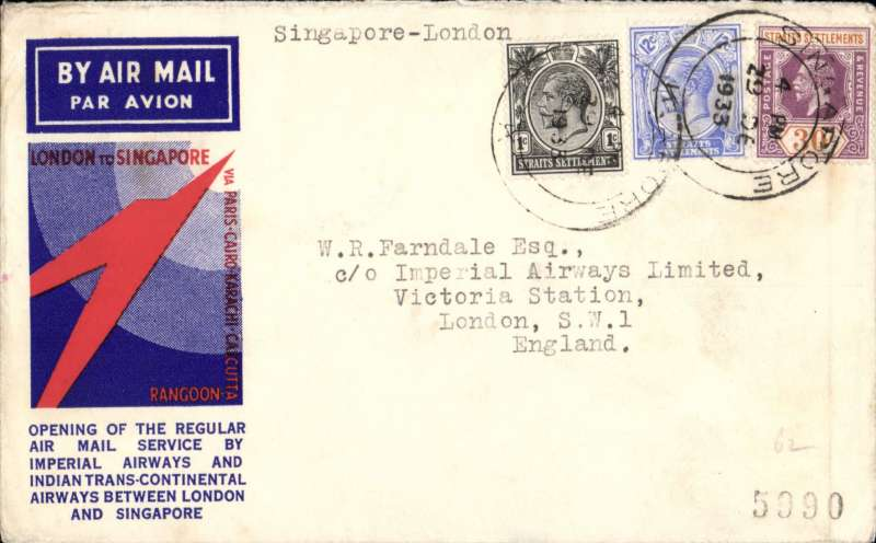(Singapore) First regular westbound after extension Rangoon to Singapore, Singapore to London, souvenir 'speedbird' cover correctly franked 43c (8c post, 35c air fee) canc 29 DE 1933. Difficult to find.