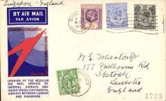 (Singapore) Imperial Airways F/F Singapore to London, 11/4 Ibstock arrival cds on front, souvenir speedbird cover correctly rated 43c (8c post+ 35c air fee), franked GV 30c, 12c and1 perfins.