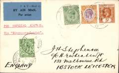 (Malaya Straits Settlements) Imperial Airways F/F Singapore to London, 11/4 Ibstock arrival cds on front, plain correctly rated 43c (8c post+ 35c air fee), blue grey/black 'P&T Mail 25' airmail etiquette.