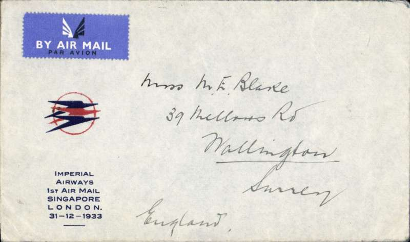 (Singapore) Double rate Imperial Airways F/F Singapore to London,  uncommon small red.blue speedbird souvenir cover with printed 'Imperial Airways/...............London/31-12-1933', franked 78c double rate verso.