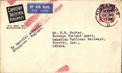 (Singapore) Singapore to Toronto, Canada, dark blue/white 'Canada National Railways' corner imprint cover franked 25c per 1/2oz UK & Empire rate, blue/white airmail etiquette cancelled red double bar Jusqu'a applied in London, typed 'By Imperial Airways/Singapore-London'.