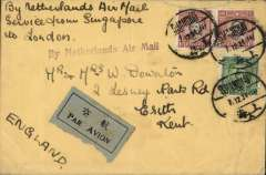 (China) Shanghai to London, plain cover franked $2.05 canc Shanghai/7.12.34 cds, ms 'By Netherlands Air Mail/Service from Singapore to London', also good strike violet st. line 'By Netherlands A ir Mail' and grey/black airmail etiquette. By sea to Singapore, then air to London. Closed tear flap verso with small extension to top front edge. See scan.