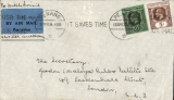 (Malaya ) Penang to London, commercial cover franked 55c, ms 'Per Dutch Airmail/Alor Star - Amsterdam' tied by green blue/black airmail etiquette.