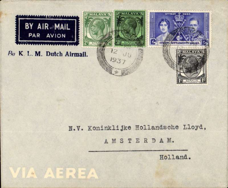 (Malaya ) Penang to Amsterdam by KLM (Dutch) airline, correctly rated 65c per 1/2oz, franked Straits Settlements 50c,2c,1c + 12c Coronation canc Penang large bars + fleuron cds, uncommon attractive imprint etiquette dark blue/grey ' By K.L.M. Dutch Airmail' cover with with opaque 'economy' between large wings on flap. See scan