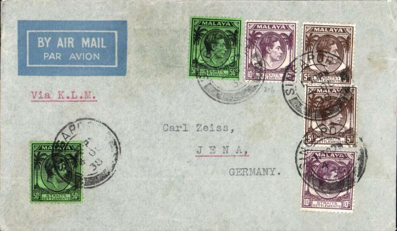(Singapore) Singapore to Carl Zeiss, Jena, Germany by KLM (Dutch) airline, commercial imprint airmail etiquette cover franked $1.30 double rate (2x65c per 1/2oz).