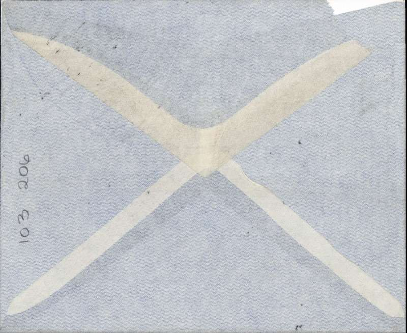 (Singapore) Singapore to London, likely carried on the KLM (Dutch) airline, likely F/F Singapore-Amsterdam, grey 'opaque wings' airmail cover correctly rated 53c (8c postage + 53 air mail),  Local P&T airmail etiquette verso. Small defect on flap, see scan..