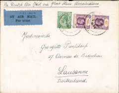 (Malaya Straits Settlements) Singapore to Lausanne, Switzerland, via Penang, 28/4, The Europe Hotel/Singapore with lion rampant logo embossed on flap, correctly rated  62c (12c postage+50c air fee), ms 'Per Dutch Air Mail via Alor Star - Amsterdam', local P&T airmail etiquette. By rail to Penang, then KLM to Alor Star and Amsterdam. Nice item.