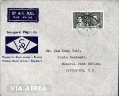 (Malaya ) First internal airmail, Kuala Lumpur to Singapore, bs 1/7, official dark blue/grey souvenir cover franked 8c Coronation,  Wearne's Air Services.
